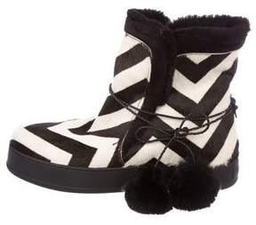 Max Mara Ponyhair Printed Ankle Boots