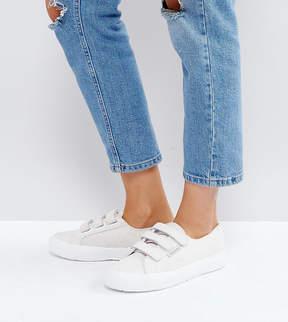 Superga Croc Leather Velcro Sneakers In Cream