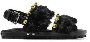 Marni Embellished Leather And Alpaca Sandals - Black