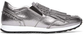 Tod's Embellished Fringed Metallic Leather Slip-on Sneakers - Silver