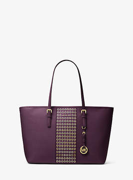 Michael Kors Jet Set Travel Grommeted Saffiano Leather Tote - PURPLE - STYLE