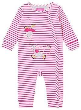 Joules Pink Stripe Skating Mice Applique Footless Babygrow