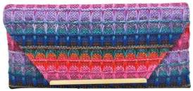 La Regale Multi Color Raffia Envelope Clutch.