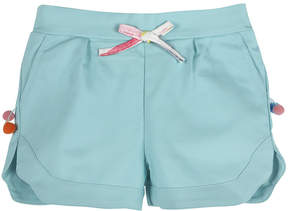 Andy & Evan Girls' Aqua Pompom Shorts