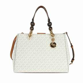 Michael Kors Cynthia Medium Logo Satchel- Vanilla - ONE COLOR - STYLE