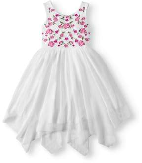 Speechless Lots Of Love By Little Girls' 4-6X Embroidered Handkerchief Hem Dress