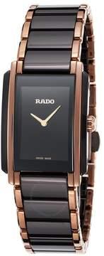 Rado Integral Quartz Black Dial Two-tone Ceramic/Stainless Steel Ladies Watch