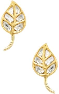 Amrapali Women's 22K Yellow Gold & 1.05 Total Ct. Diamond Leaf Stud Earrings
