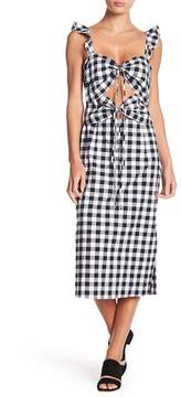 WAYF Gingham Print Cutout Dress