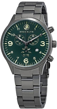 Co Brooklyn Watch Bedford Brownstone Chronograph Green Dial Men's Watch