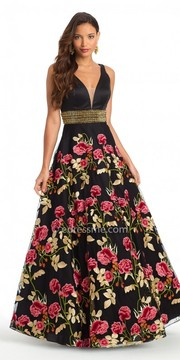 Camille La Vie Floral Embroidered Plunge Ball Gown