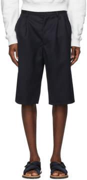 Comme des Garcons Navy Wool Gabardine Plain Shorts