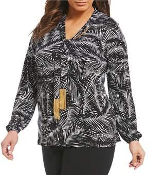 MICHAEL Michael Kors Plus Abstract Palm Print Matte Jersey Tassel Tie-Neck Top