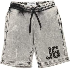 John Galliano Washed Denim Effect Cotton Sweat Shorts