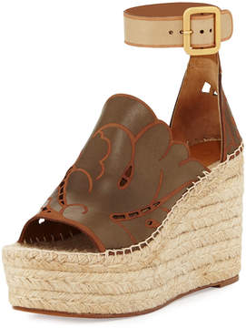 Chloé Tooled Leather Wedge Espadrille Sandal