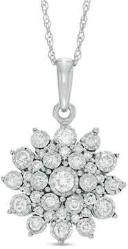 Zales 1/2 CT. T.W. Diamond Sunburst Pendant in 10K White Gold
