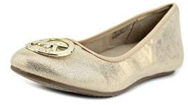 MICHAEL Michael Kors Faye Ria Youth Round Toe Synthetic Gold Flats.