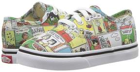 Vans Kids Authentic x Peanuts Comics/Black/True White) Kids Shoes