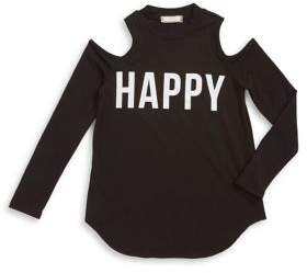 Soprano Girl's Happy Cold-Shoulder Sweater