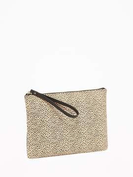 Zip-Top Cheetah-Print Clutch for Women