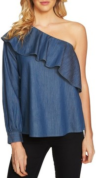 CeCe Women's Ruffle One-Shoulder Denim Top