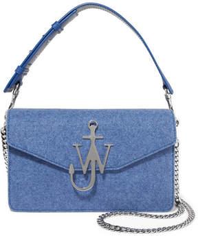 J.W.Anderson Logo Felt And Leather Shoulder Bag - Blue