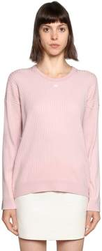 Courreges Logo Patch Ribbed Cotton Sweater