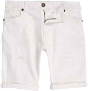 River Island Boys white ripped denim shorts