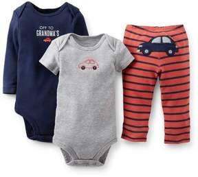 Carter's Baby Clothing Outfit Boys' 3 Piece 'Take me Away' Set- Off 2 Grandmas - Navy - Newborn