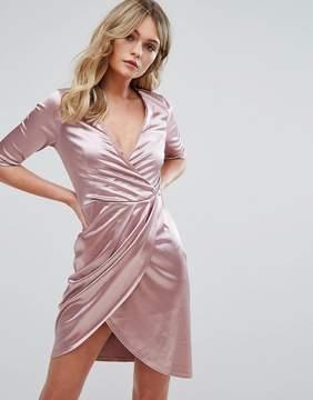 Club L Wrap Dress In Satin