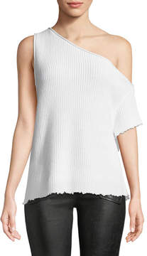 RtA Sloane One-Shoulder Cotton Knit Top