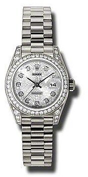 Rolex Lady-Datejust 26 Silver Jubilee Dial 18K White Gold President Automatic Ladies Watch