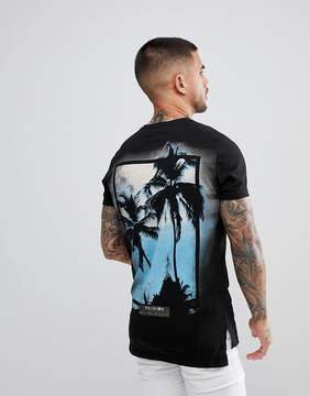 Religion Stepped Hem T-Shirt With Palm Tree Back Print