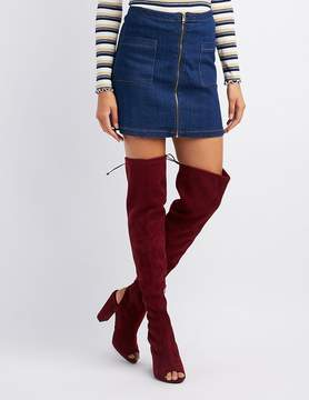 Charlotte Russe Peep Toe Over-The-Knee Boots