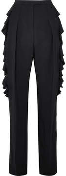 Antonio Berardi Ruffled Crepe Tapered Pants - Black