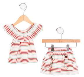 Oeuf Girls' Striped Skirt Set