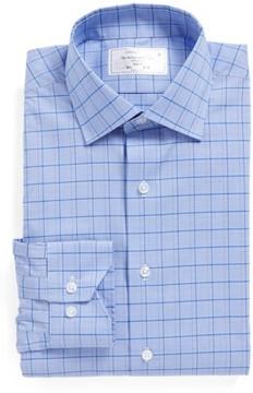 Lorenzo Uomo Men's Trim Fit Plaid Dress Shirt
