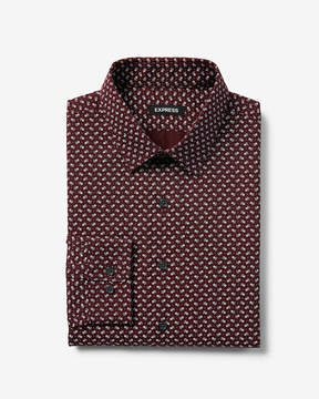 Express Extra Slim Small Floral Print Dress Shirt