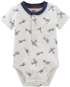 Osh Kosh Oshkosh Bgosh Baby Boy Airplane Pattern Henley Bodysuit