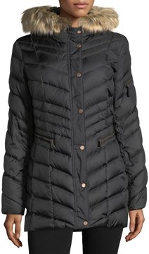 Andrew Marc Faux Fur-Trimmed Puffer Jacket
