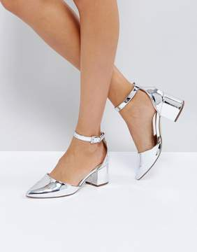 Call it SPRING Trivio Silver Block Heeled Shoes