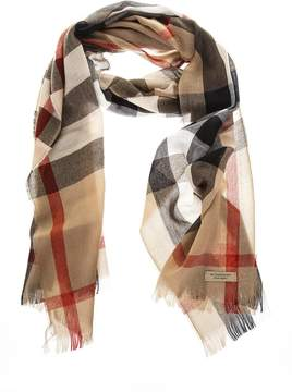 Burberry Camel Classic Wool Fringed Scarf