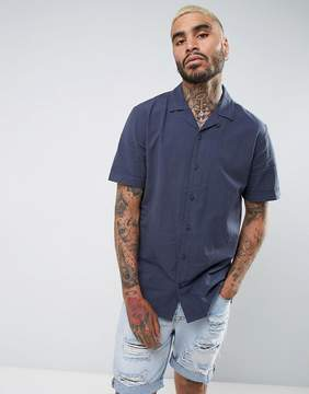 Pull&Bear Regular Fit TEXTURED Shirt With Revere Collar In Navy