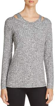 Design History Cutout Shoulder Ribbed Sweater