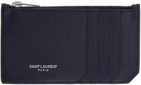 Saint Laurent Navy 5 Fragments Zip Card Holder - NAVY - STYLE