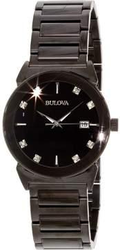 Bulova Mens Black Ion Stainless Steel Diamond Accent Watch 98D121