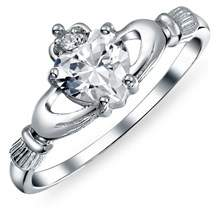 Celtic Bling Jewelry Irish Sterling Silver Heart Cz Claddagh Ring.