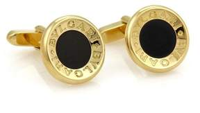 Bulgari Signature 18K Yellow Gold & Onyx Concave Circle Cufflinks