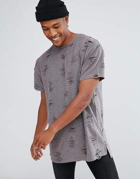 New Look T-Shirt With Rips And Shadow Print In Gray