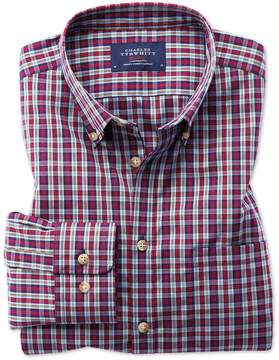 Charles Tyrwhitt Classic Fit Button-Down Non-Iron Poplin Blue and Red Check Cotton Casual Shirt Single Cuff Size Large